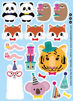 A6 Sticker Sheet 17 STICKERS - PANDA FOX
