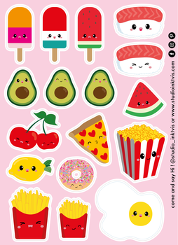 A6 Sticker Sheet 17 STICKERS - SUSHI FRUIT FAST FOOD