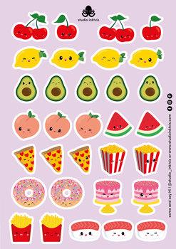 A5 Sticker Sheet 32 STICKERS - SUSHI FRUIT EN FAST FOOD