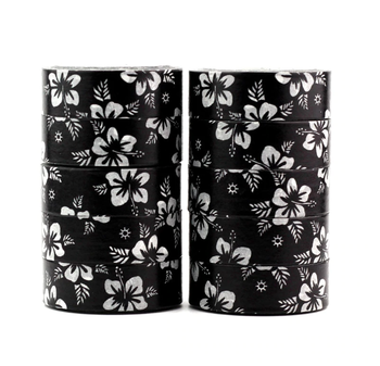 Washi Masking Tape | Black and White Flowers