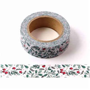 Washi Masking Tape | Red Bud Green Leaves