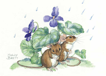 Postcard Molly Brett | Two mice shelter from the rain