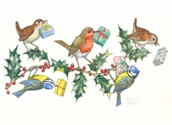 Postcard Molly Brett | Wrens, blue tits and robin holding presents