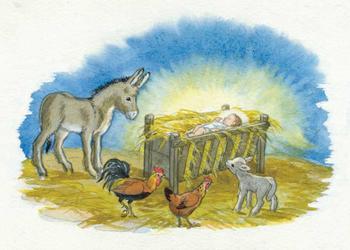 Postcard Molly Brett | Donkey, lamb, cock & hen around Jesus in Crib