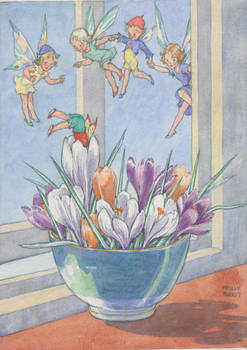 Postcard Molly Brett | Bowl of crocuses with fairies flying around