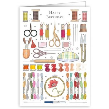 Greeting Card - Happy Birthday Embroidery