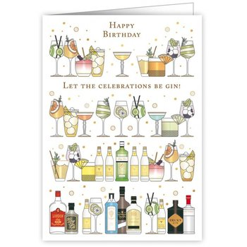 Greeting Card - Happy Birthday - Let the celebrations be gin!
