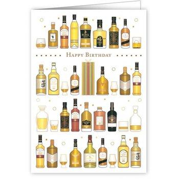 Greeting Card - Happy Birthday - Whiskey Bottles
