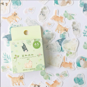 Sticker Flakes Box | Green Style Little Cats & Leaf