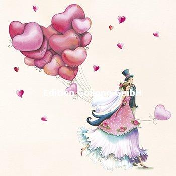 Nina Chen Postcard   Newlyweds with balloons