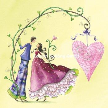 Nina Chen Postcard   Couple with hearts