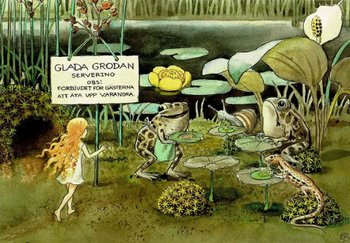Elsa Beskow Postcard | Solägget (frogs)
