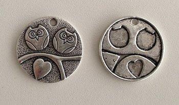 Tibetan Silver Tone Animals Charms Pendants - Hearts Owls on Tree