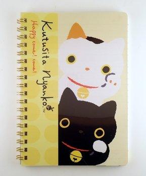 San-X Kutusita Nyanko Spiral Ring Binder Notebook   Lucky Cat