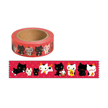 San-X Kutusita Nyanko Washi Deco Tape   Lucky Cat