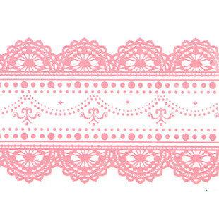 Large Adhesive PVC Decotape Pink Lace