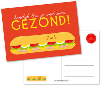 Postcard Renske Evers | Hopelijk ben je snel weer gezond!