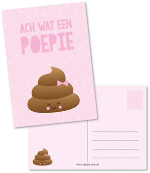 Postcard Renske Evers | Wat een poepie roze