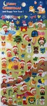 Merry Christmas Seal Sticker | Blue Santa Sled Reindeer