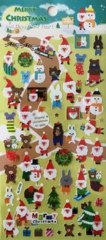 Merry Christmas Seal Sticker | Blue Santa with Snowman