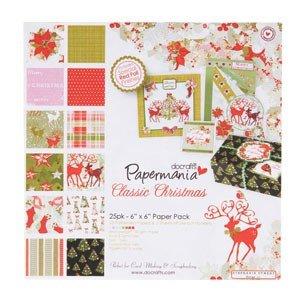 Papermania 6x6 paper & die cut pack | Classic Christmas (25pk)