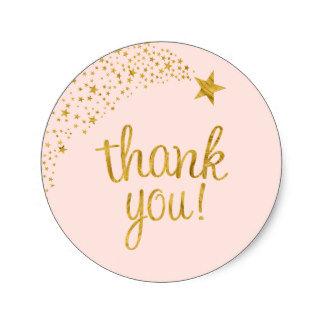 Thank You Circle Sealing Stamp Stickers   Shooting Star Pink Gold