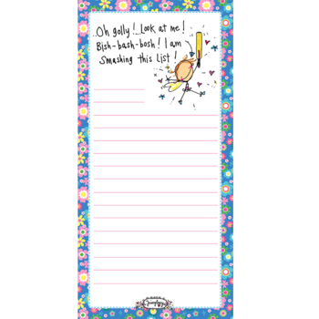 Juicy Lucy Designs Listpad | Oh golly! Look at me! Bish-bash-bosh! I am smashing this list!