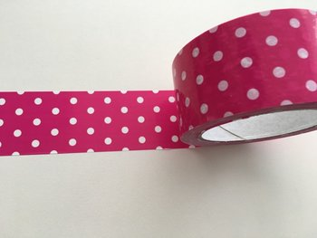 Large Adhesive PVC Decotape | Fuchsia with White Dots