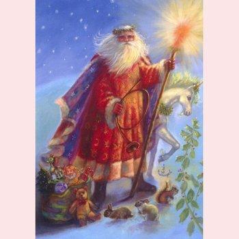Postkarte Fantasy Judy Mastrangelo   Weihnachtsmann & Einhorn