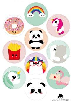 A5 Round Stickersheet   Mix Panda Unicorn Donut