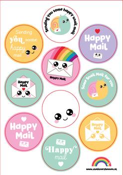 A5 Round Stickersheet   Happy Mail