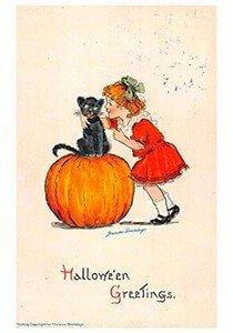 Victorian Halloween Postcard | A.N.B. - Girl and black cat