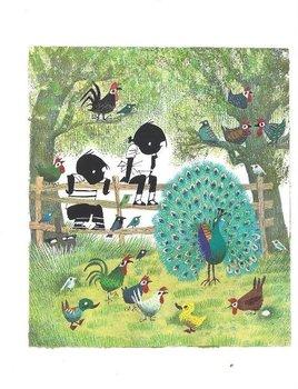 Fiep Westendorp Postcards | Jip en Janneke met een pauw