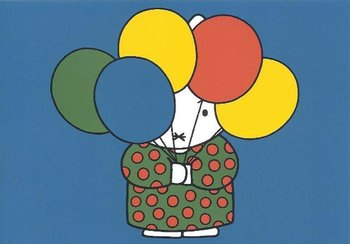 Nijntje Miffy Postcards | Tante Trijn met ballonnen