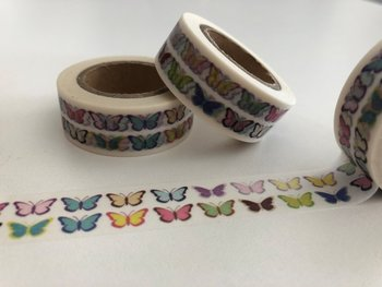 Washi Masking Tape | Two Rows of Small Rainbow Butterflies