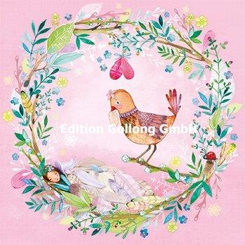 Mila Marquis Postcard   Blütenkranz mit Vogel und Elfe