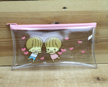 Amy and Tim Transparent Pencil Case Zipper Bag | Heart
