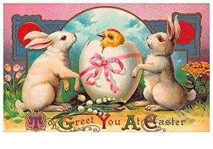 Victorian Postcard | A.N.B. - To greet you at easter