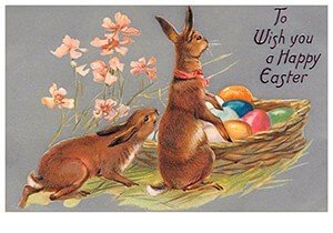 Victorian Postcard | A.N.B. - To wish you a happy easter