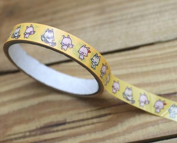 Happy Go Lucky Meow Medium Adhesive PVC Deco Tape | Yellow