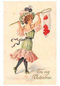 Victorian Valentine Postcard | A.N.B. - Jongedame met een net vol hartjes