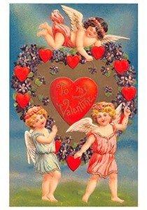 Victorian Valentine Postcard | A.N.B. - Engelen met hartjes