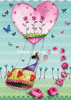 Mila Marquis Postcard | Woman in hot air balloon with roses