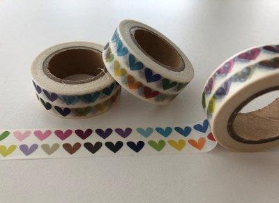 Washi Masking Tape | 2 Rows of Rainbow Hearts