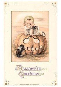 Victorian Halloween Postcard | A.N.B. - Zwarte kat bij een pompoen waar een kind op zit