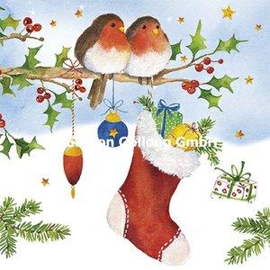Carola Pabst Postcard Christmas | Robin and Christmas sock