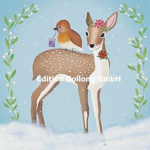 Sandra Brezina Postcard Christmas | Deer and bird