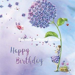 Nina Chen Postcard | Happy Birthday (vrouw onder hortensia)