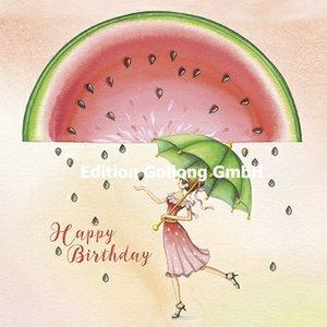 Nina Chen Postcard   Happy Birthday (Woman with umbrella)