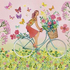 Mila Marquis Postcard | Woman on bicycle